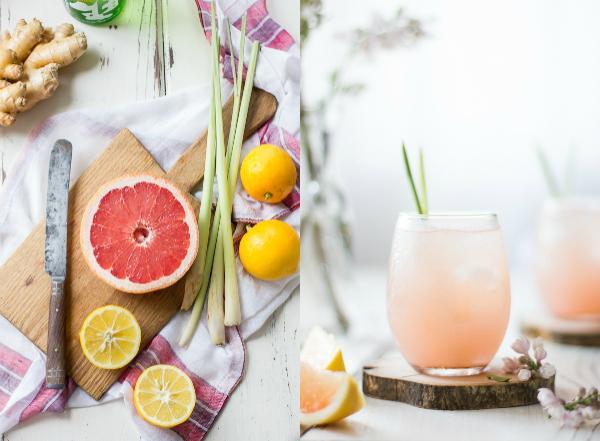 Koktel od grejpa, đumbira i limunske trave sa sakeom